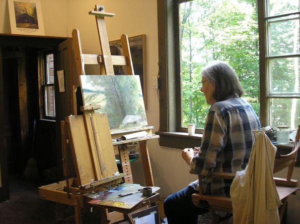 Artist Margaret Leveson in her studio in the Catskills
