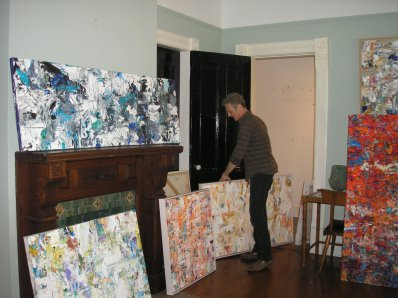 Adam selecting works for Abstraction, a show opening at Carrie Haddad gallery on July 18