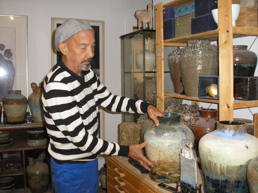 Artist Peter Yamaoka in his studio