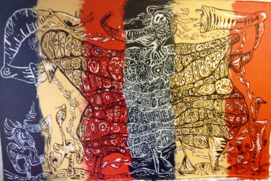 Large acrylic by Gary Mayer, currently on view in the Commons Building