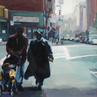 "Couple With Child, 7th Avenue South, 20"" x 20"" oil on wood panel, 2003, retail: $3500"