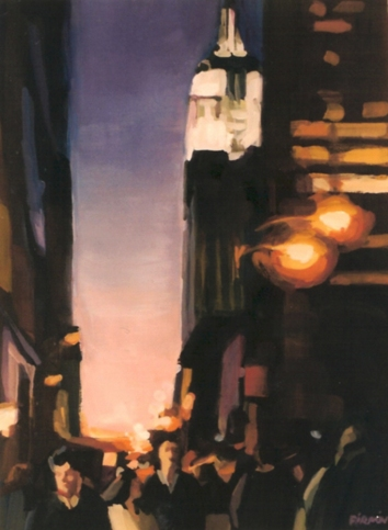 "Fifth Avenue, 7"" x 15"", gouache, 1995"
