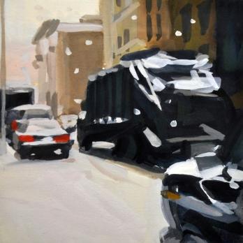"""Garbage Truck/Snowstorm, 5"""" x 5"""", gouache, 1996, owned by Dympna Burkhart"""