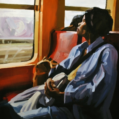 "Woman on a Train, 20"" x 20"" oil on wood panel, 2014"