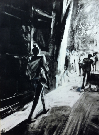 "Woman Walking, Barcelona. 22"" x 30"" monoprint, 2015, printed by the artist at Hudson Press, Roxbury, NY"