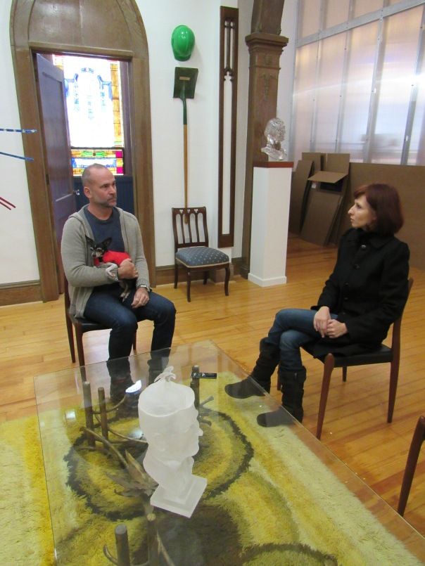 With artist Brian Tolle in his studio in Roxbury, New York