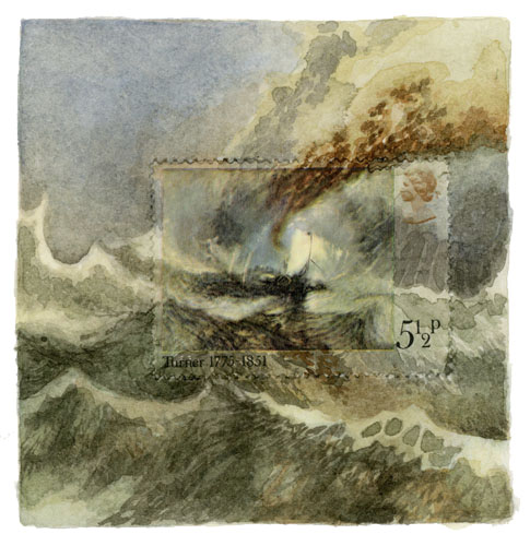 """Turner Ship, 2 3/4"""" x 2 5/8"""", watercolor, gouache, postage stamp, 2015 by Molly Rausch"""