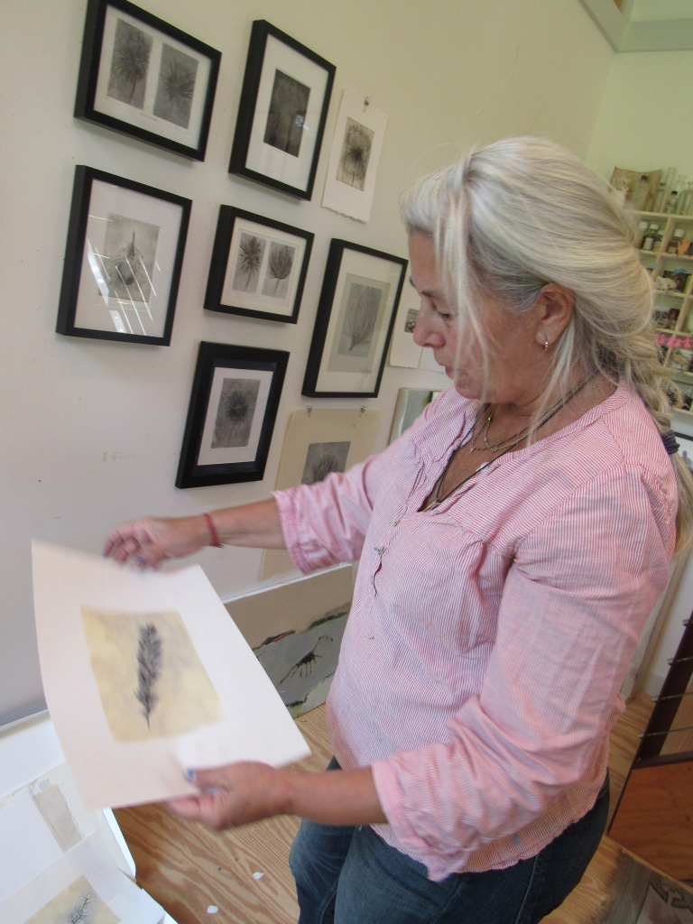 Painter and printmaker Amy Masters working on a series of monotypes inspired by feathers