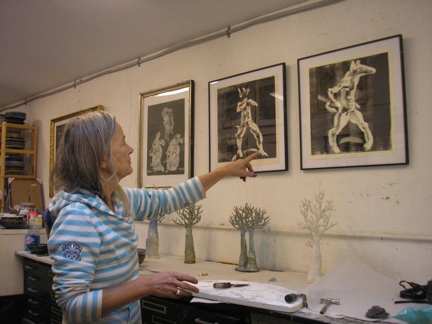Artist Gerda Van Leeuwen in her studio in Roxbury