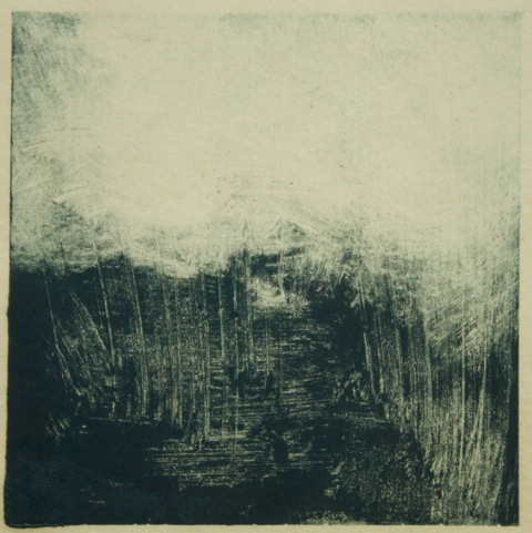 "Indigo Pond, monotype, 3"" x 3"". © Amy Masters. Contributed photo."