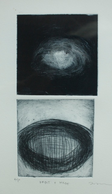 """Orbit + Nest, monotype and drypoint,  3"""" x 6"""".   © Amy Masters. Contributed photo."""